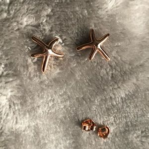 NWOT**Rose Gold Starfish Earrings